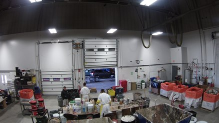 Picture of inside of waste treatment building.