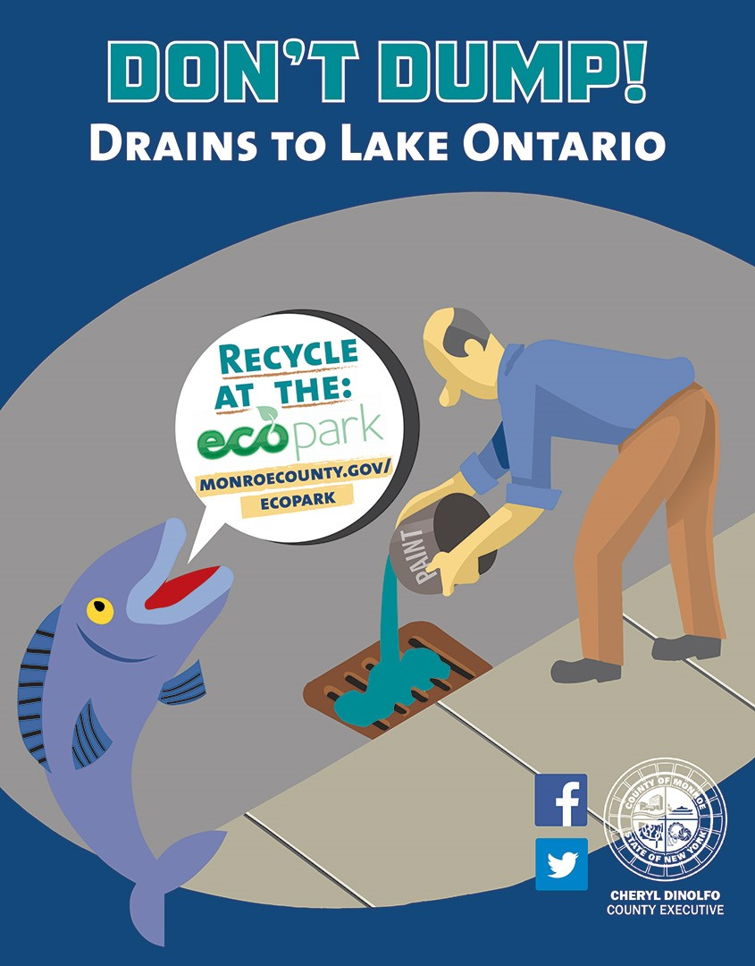 Poster: Don't Dump! Drains to Lake Ontario, Recycle at the ecopark