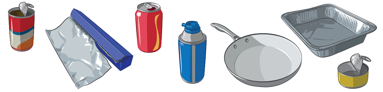 Illustrations of recyclable metal items