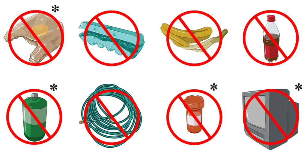 Illustrations of items not accepted for recycling
