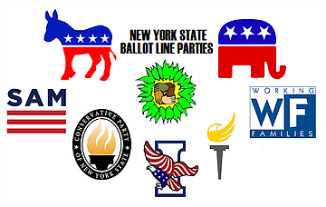 Picture of party logos with names in background.