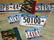 Picture of license plates and DMV forms.
