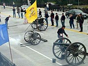 Picture of Civil War era cannons celebrating the opening of the O'Rorke Bridge.