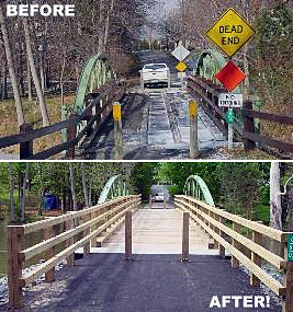 Before and after pictures of the Stuart Road Bridge.