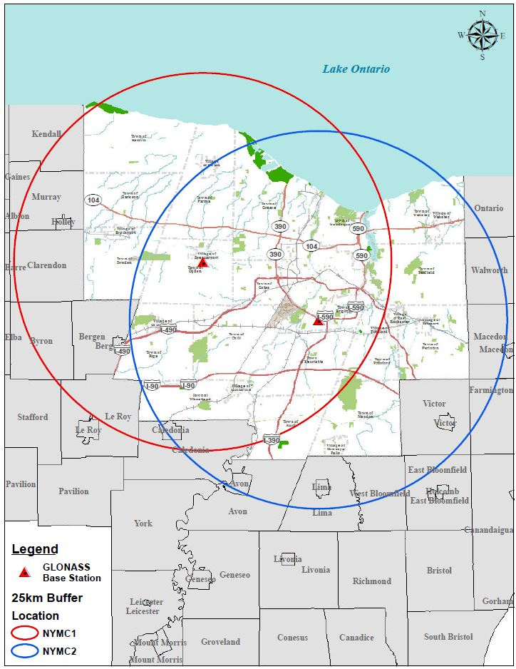 Map showing the coverage area in Monroe County for each of the two base stations.
