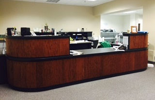 Picture of the records Monroe County DES records room reception desk.