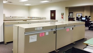 The file cabinets that hold Monroe county records.
