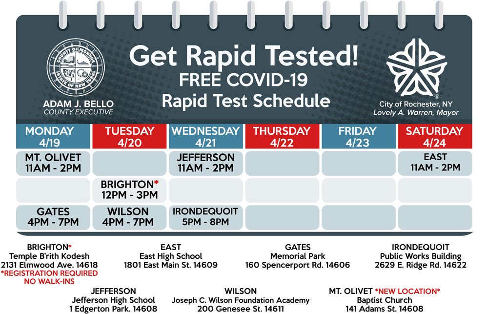 Get Rapid Tested! FREE COVID-19 Rapid Test Schedule