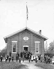 Old picture of Parma schoolhouse.