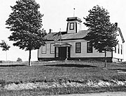 Old picture of Hamlin #1 schoolhouse.