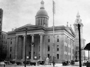 Historic picture of the second Monroe County Courthouse.